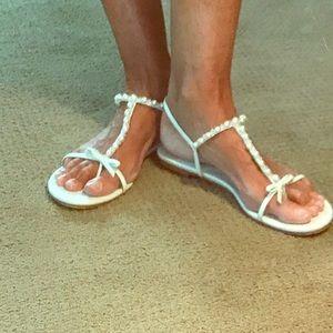 White Stuart Weitzman flat Sandal w/Pearls